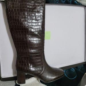 J. Crew Croc High Shaft boots 10.5